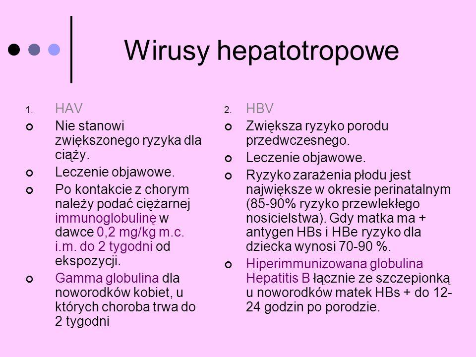 Wirusy hepatotropowe HAV Nie stanowi zwiększonego ryzyka dla ciąży.
