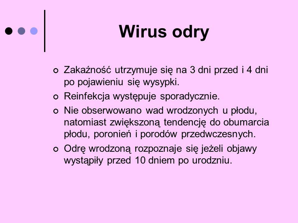 Wirus odry Zakaźność utrzymuje się na 3 dni przed i 4 dni po pojawieniu się wysypki. Reinfekcja występuje sporadycznie.