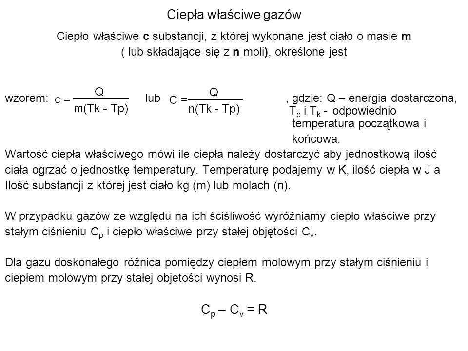 Ciepła właściwe gazów Cp – Cv = R