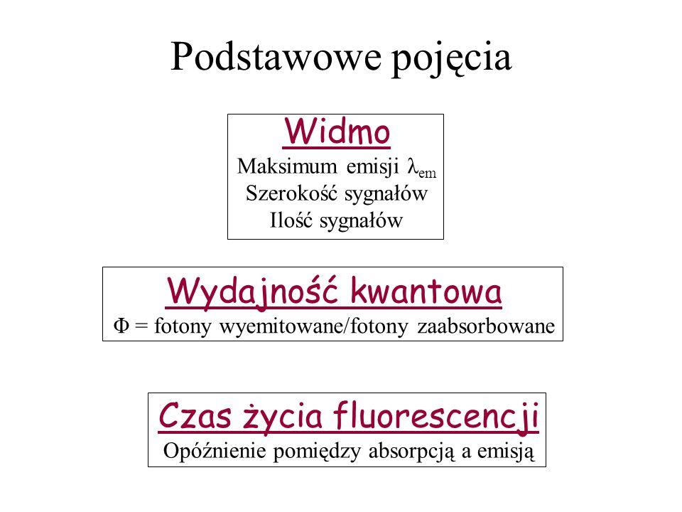 Podstawowe pojęcia Widmo Wydajność kwantowa Czas życia fluorescencji