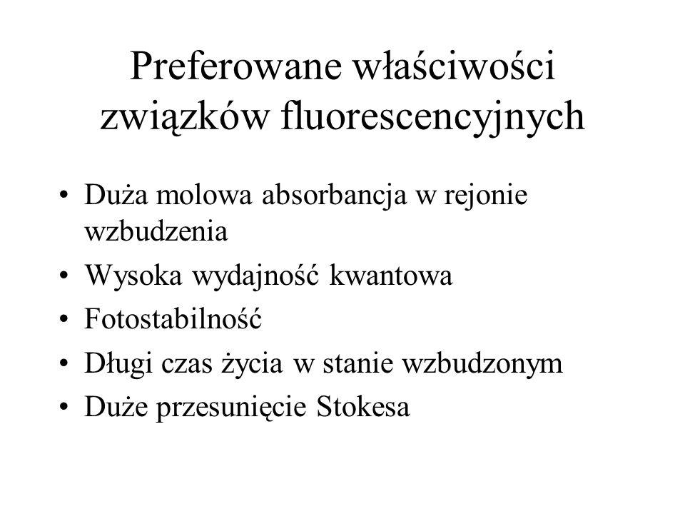 Preferowane właściwości związków fluorescencyjnych