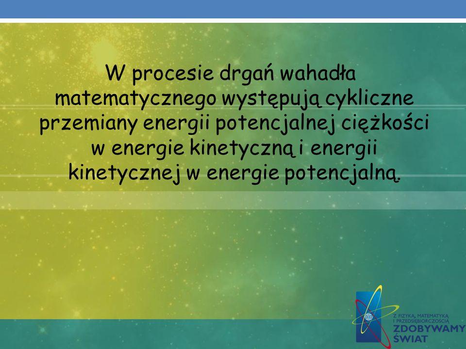 W procesie drgań wahadła matematycznego występują cykliczne przemiany energii potencjalnej ciężkości w energie kinetyczną i energii kinetycznej w energie potencjalną.