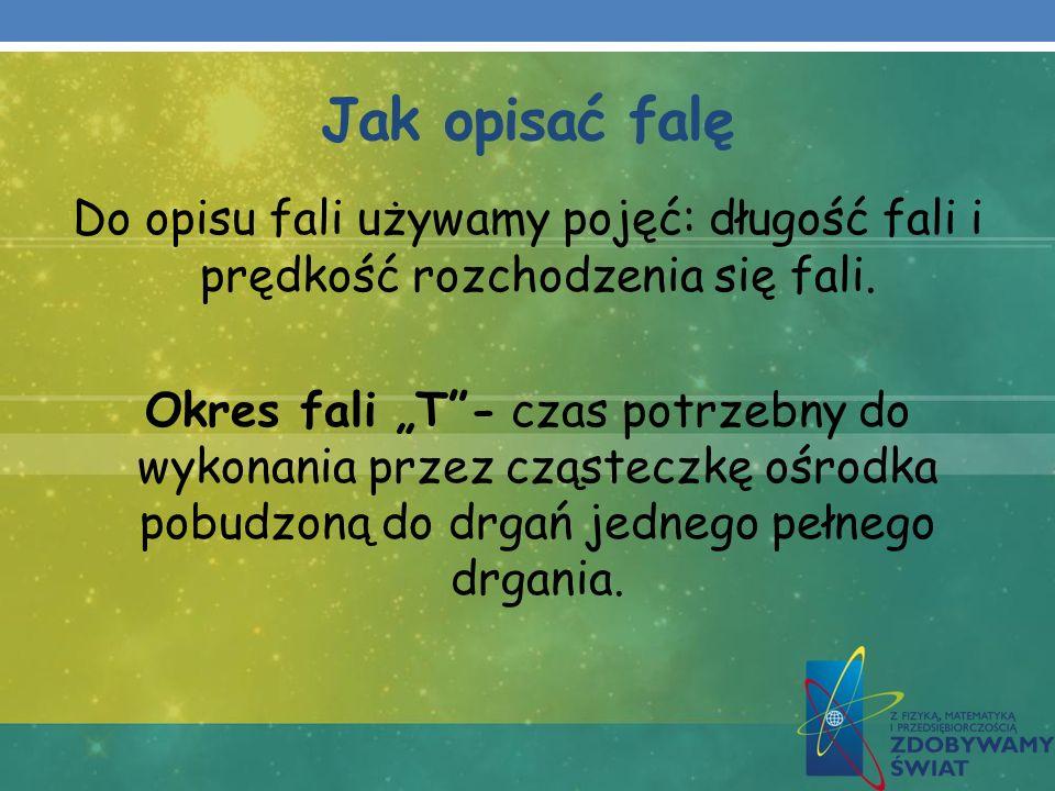 Jak opisać falę Do opisu fali używamy pojęć: długość fali i prędkość rozchodzenia się fali.