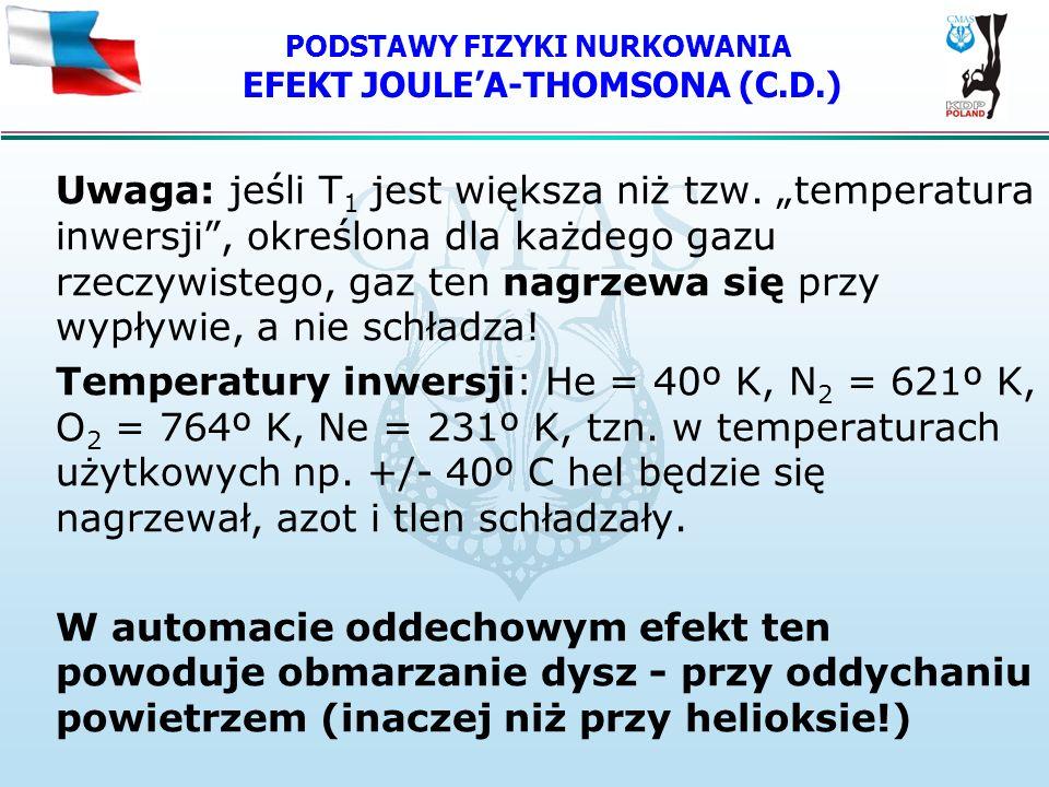 PODSTAWY FIZYKI NURKOWANIA EFEKT JOULE'A-THOMSONA (C.D.)