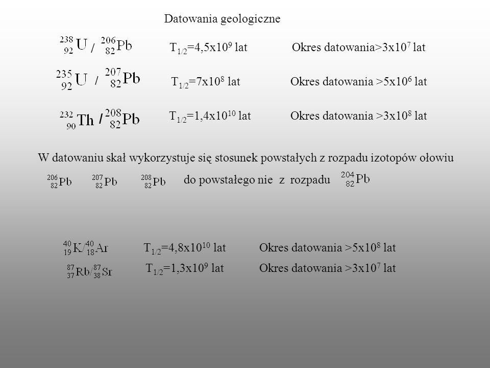 / / Datowania geologiczne T1/2=4,5x109 lat