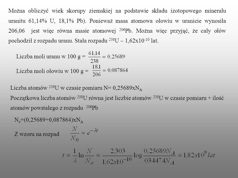Liczba atomów 238U w czasie pomiaru N= 0,25689xNA
