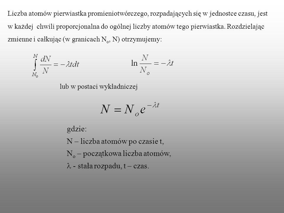 N – liczba atomów po czasie t, No – początkowa liczba atomów,