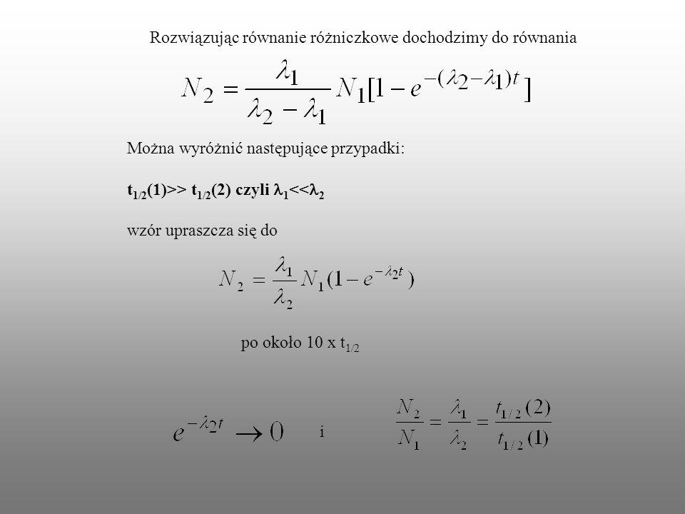 Rozwiązując równanie różniczkowe dochodzimy do równania