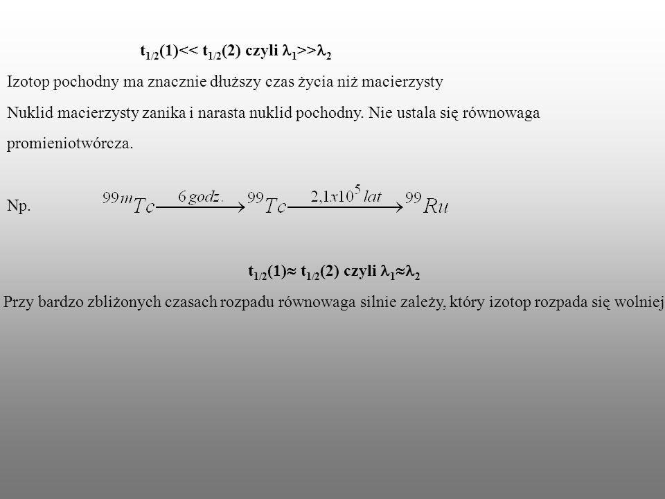 t1/2(1)<< t1/2(2) czyli l1>>l2