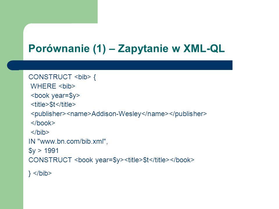 Porównanie (1) – Zapytanie w XML-QL