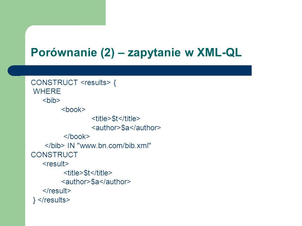 Porównanie (2) – zapytanie w XML-QL