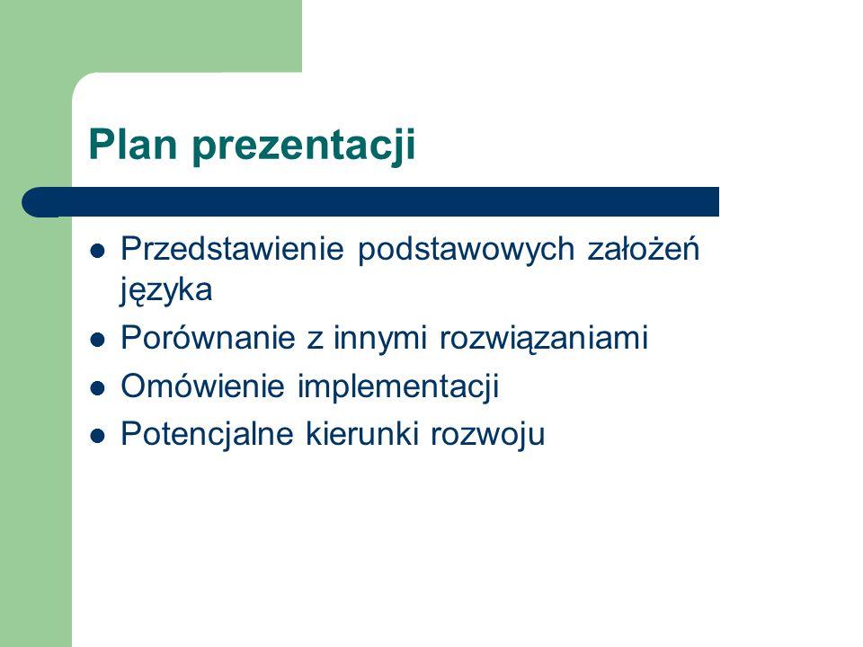 Plan prezentacji Przedstawienie podstawowych założeń języka