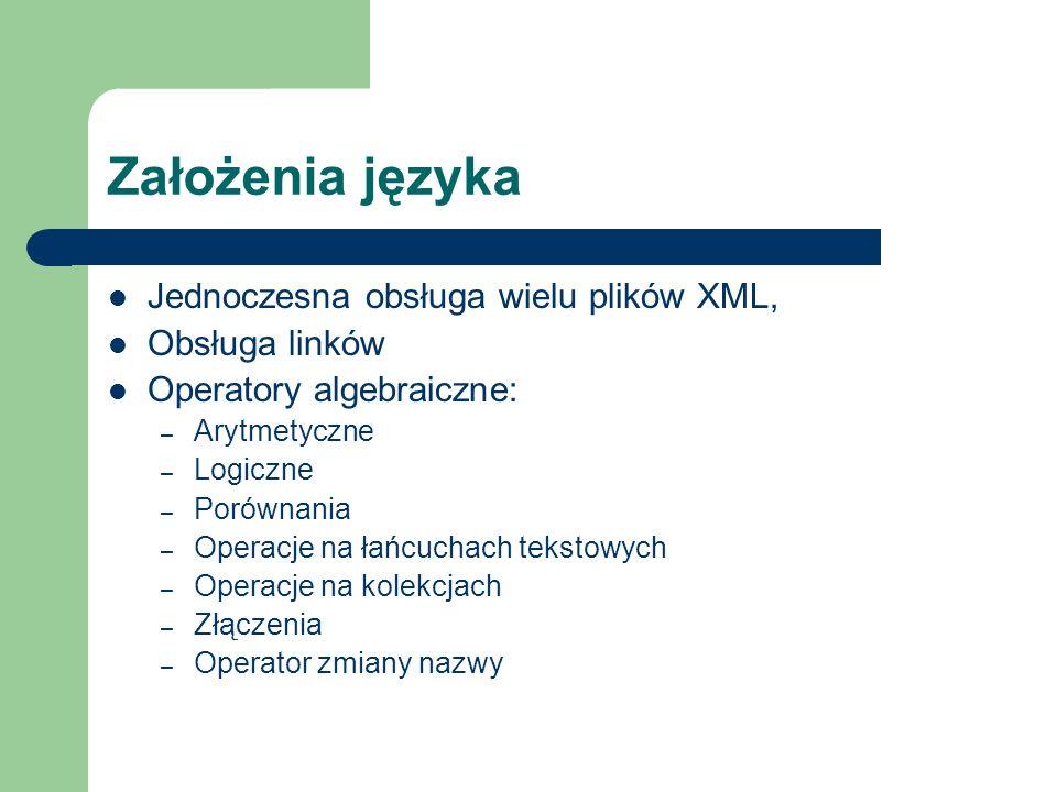 Założenia języka Jednoczesna obsługa wielu plików XML, Obsługa linków