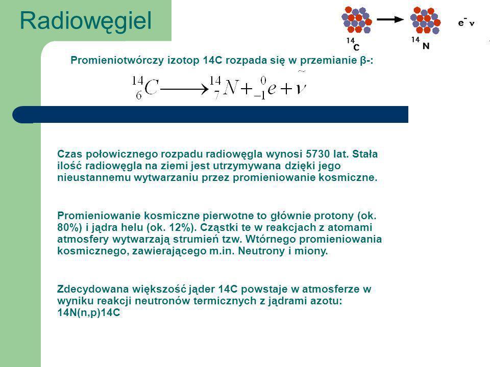 Promieniotwórczy izotop 14C rozpada się w przemianie β-: