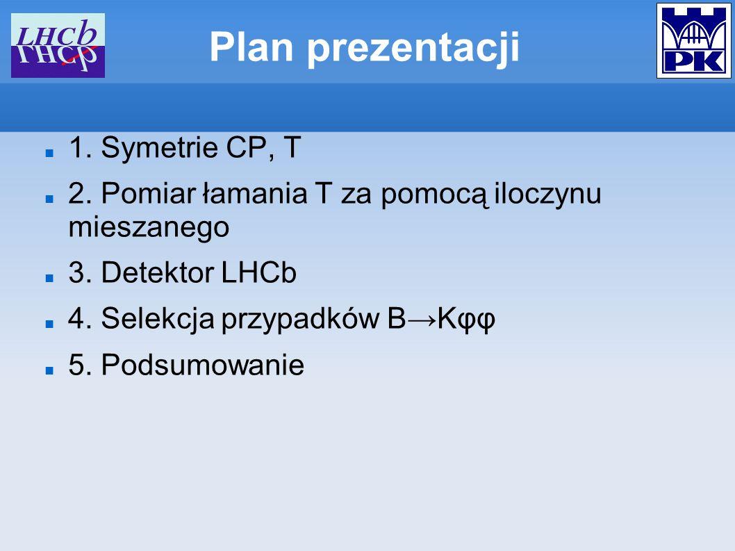 Plan prezentacji 1. Symetrie CP, T