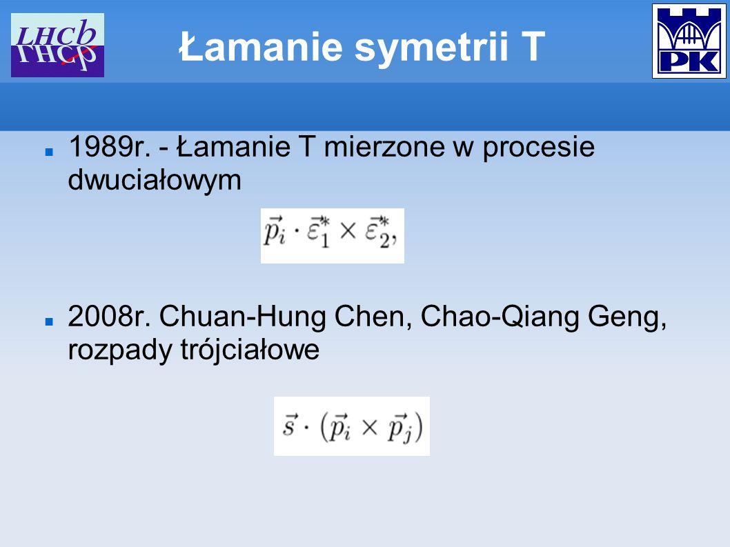 Łamanie symetrii T 1989r. - Łamanie T mierzone w procesie dwuciałowym