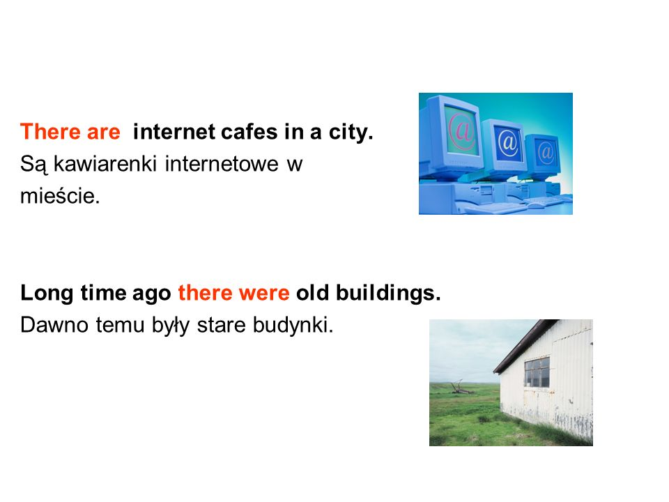 There are internet cafes in a city.