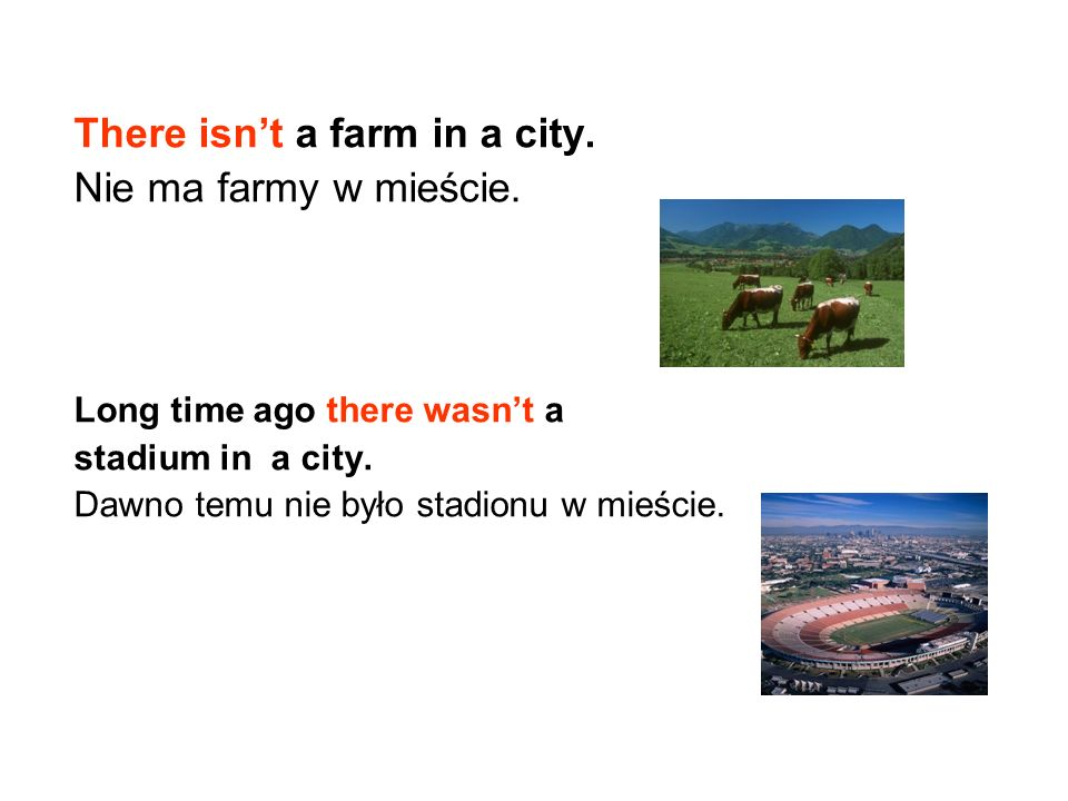 There isn't a farm in a city. Nie ma farmy w mieście.