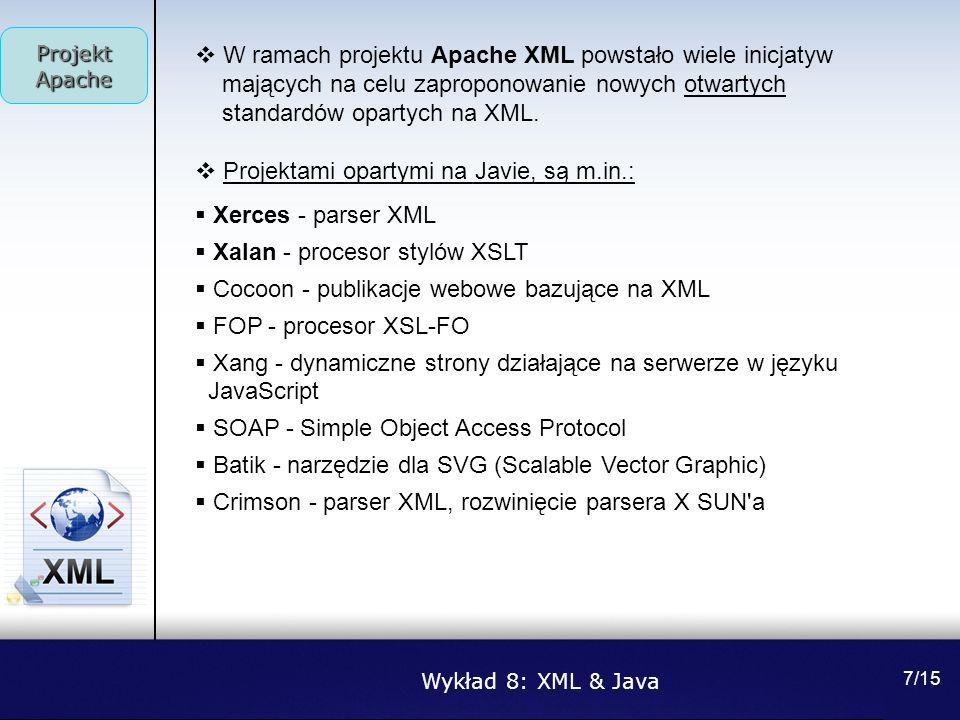W ramach projektu Apache XML powstało wiele inicjatyw