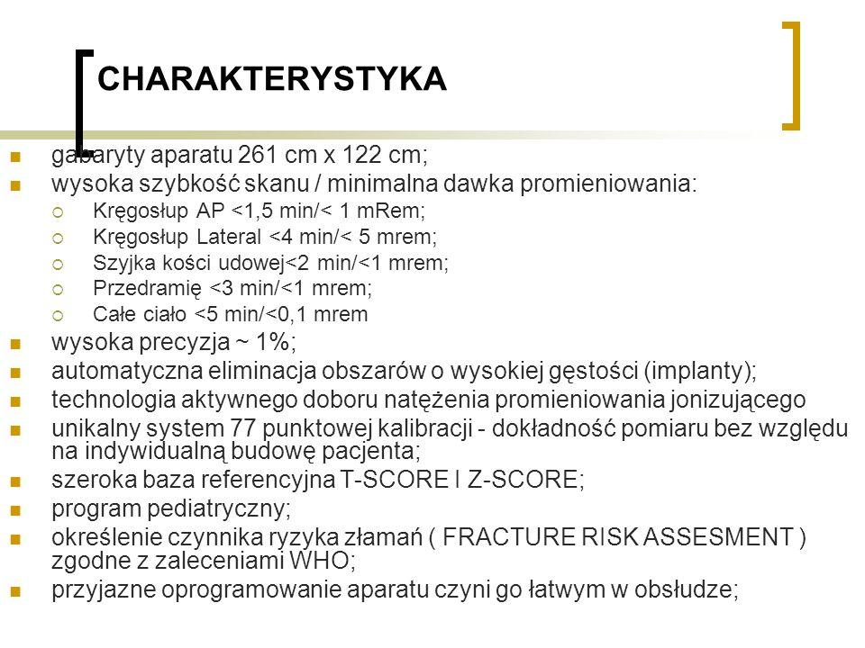 CHARAKTERYSTYKA gabaryty aparatu 261 cm x 122 cm;