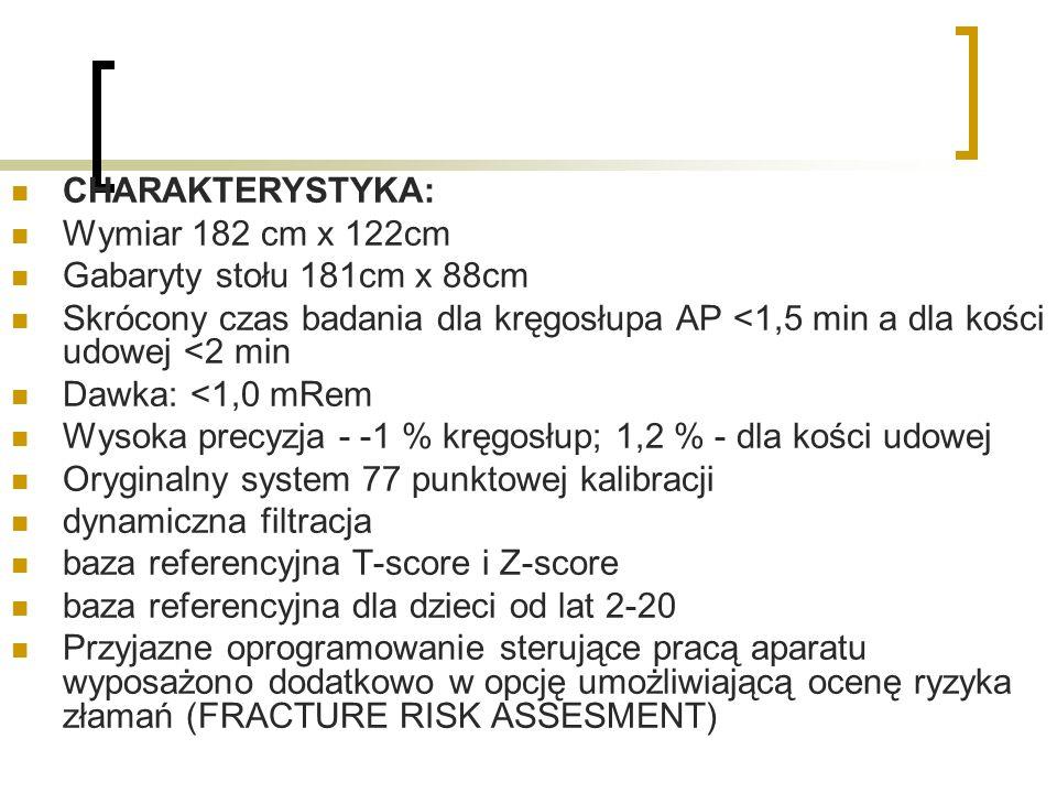 CHARAKTERYSTYKA: Wymiar 182 cm x 122cm. Gabaryty stołu 181cm x 88cm. Skrócony czas badania dla kręgosłupa AP <1,5 min a dla kości udowej <2 min.