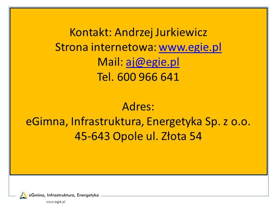Kontakt: Andrzej Jurkiewicz Strona internetowa: www.egie.pl