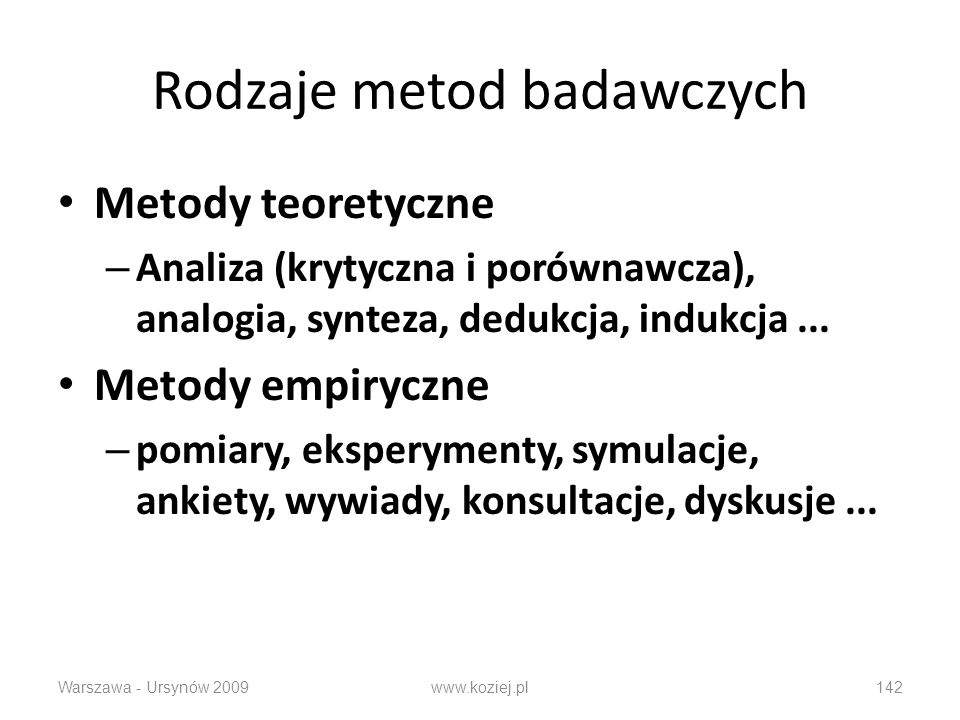 Rodzaje metod badawczych