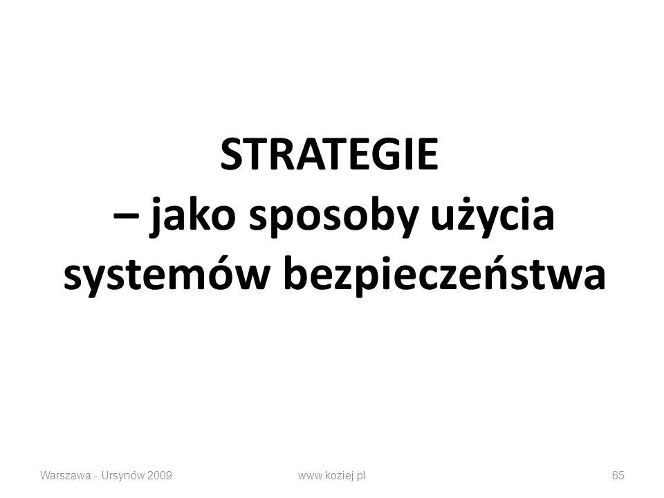 STRATEGIE – jako sposoby użycia systemów bezpieczeństwa