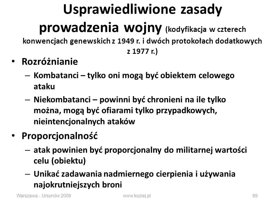 Usprawiedliwione zasady prowadzenia wojny (kodyfikacja w czterech konwencjach genewskich z 1949 r. i dwóch protokołach dodatkowych z 1977 r.)