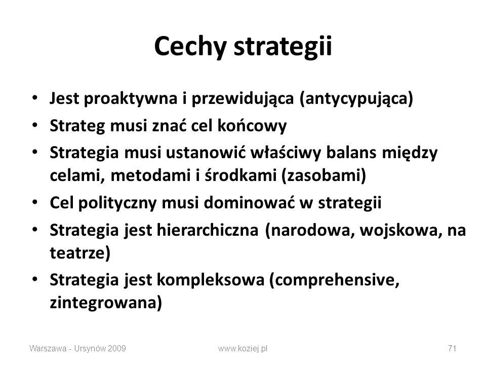Cechy strategii Jest proaktywna i przewidująca (antycypująca)
