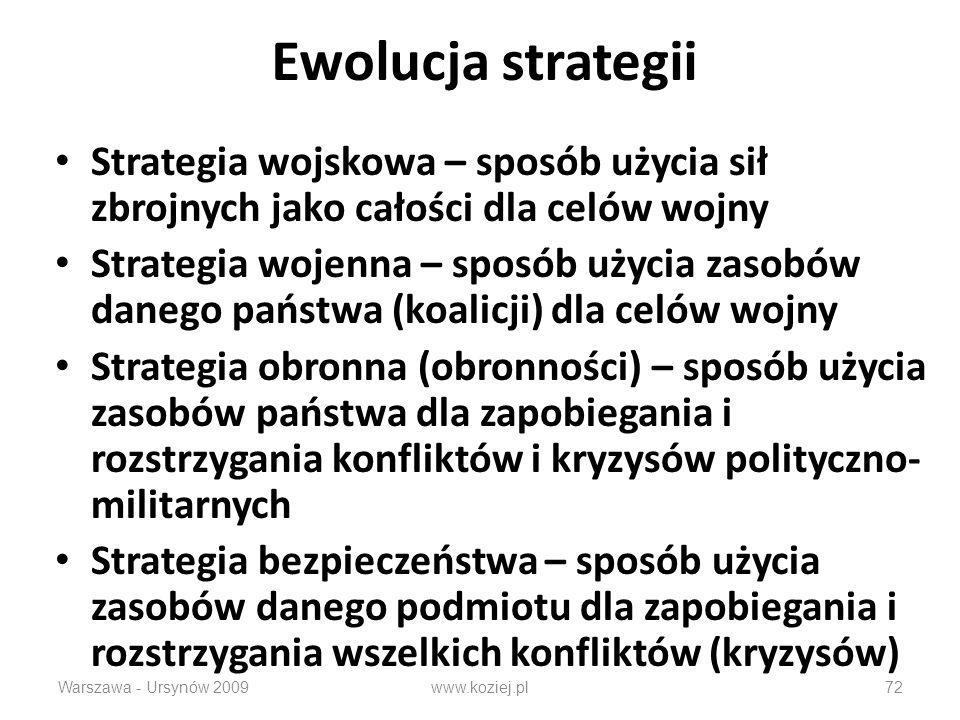 Ewolucja strategii Strategia wojskowa – sposób użycia sił zbrojnych jako całości dla celów wojny.