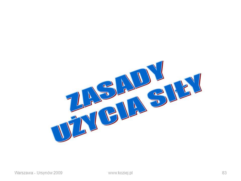 ZASADY UŻYCIA SIŁY Warszawa - Ursynów 2009 www.koziej.pl