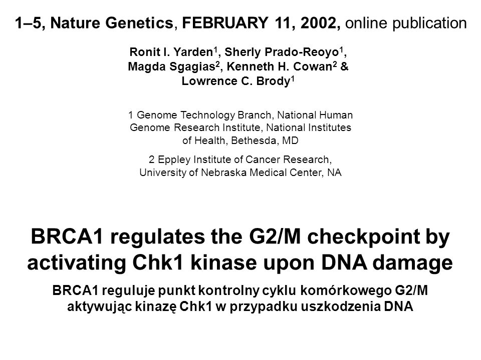 1–5, Nature Genetics, FEBRUARY 11, 2002, online publication