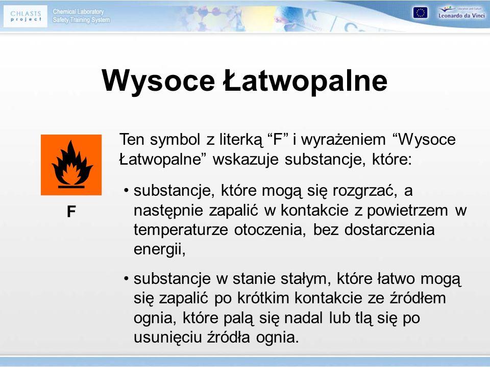 Wysoce Łatwopalne Ten symbol z literką F i wyrażeniem Wysoce Łatwopalne wskazuje substancje, które: