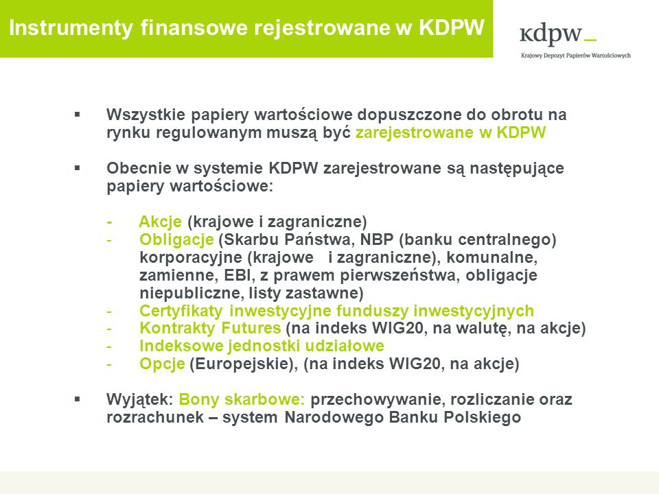 Instrumenty finansowe rejestrowane w KDPW