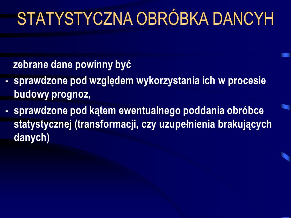 STATYSTYCZNA OBRÓBKA DANCYH