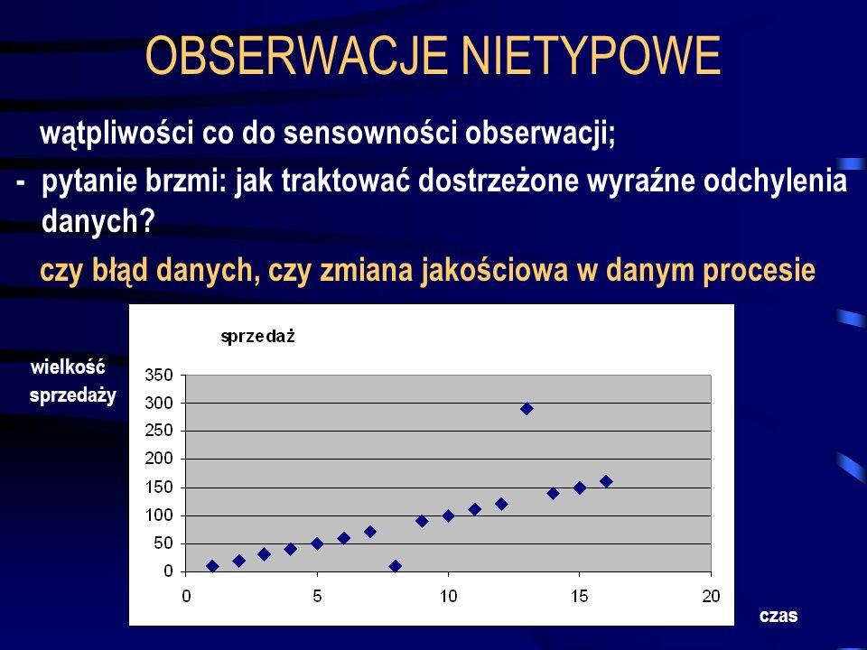 OBSERWACJE NIETYPOWE wątpliwości co do sensowności obserwacji;