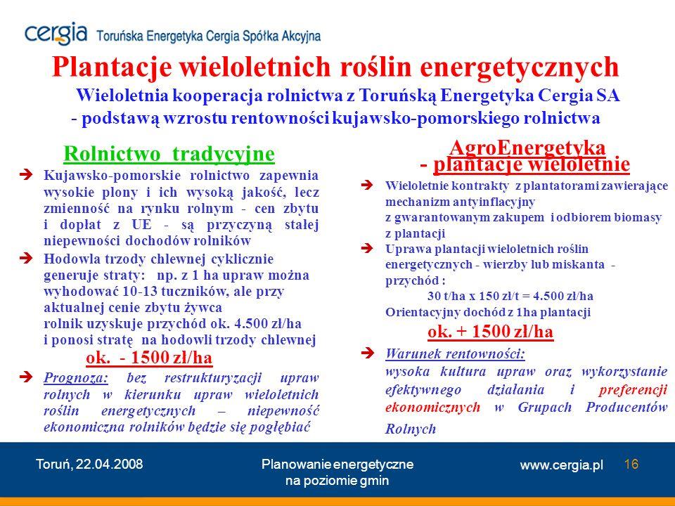 Plantacje wieloletnich roślin energetycznych Wieloletnia kooperacja rolnictwa z Toruńską Energetyka Cergia SA