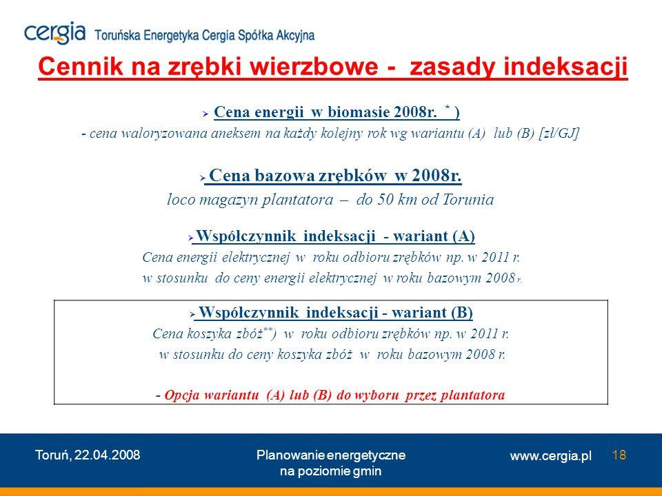 Cennik na zrębki wierzbowe - zasady indeksacji