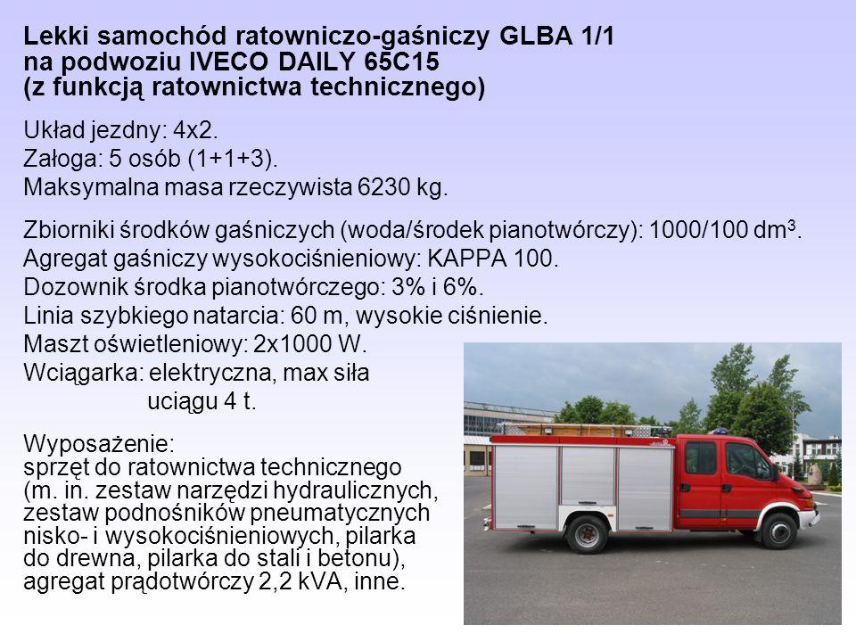 Lekki samochód ratowniczo-gaśniczy GLBA 1/1 na podwoziu IVECO DAILY 65C15 (z funkcją ratownictwa technicznego)