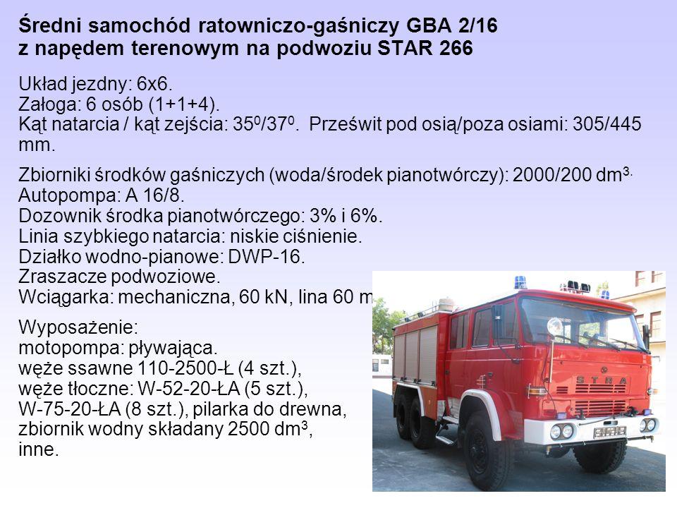Średni samochód ratowniczo-gaśniczy GBA 2/16 z napędem terenowym na podwoziu STAR 266