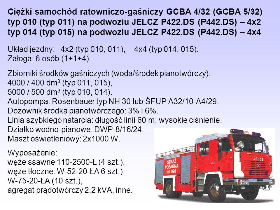 Ciężki samochód ratowniczo-gaśniczy GCBA 4/32 (GCBA 5/32) typ 010 (typ 011) na podwoziu JELCZ P422.DS (P442.DS) – 4x2 typ 014 (typ 015) na podwoziu JELCZ P422.DS (P442.DS) – 4x4
