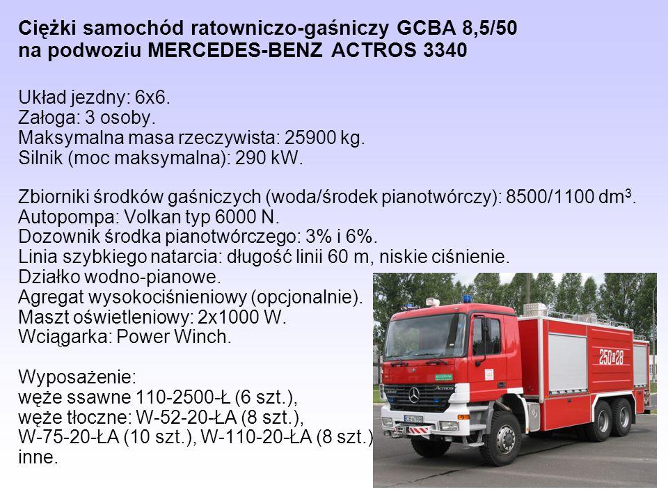 Ciężki samochód ratowniczo-gaśniczy GCBA 8,5/50 na podwoziu MERCEDES-BENZ ACTROS 3340
