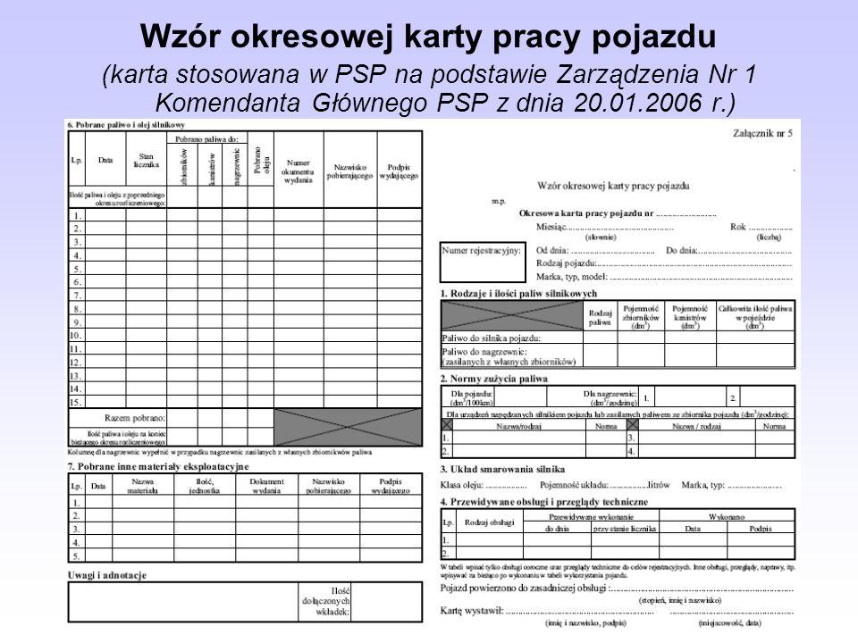 Wzór okresowej karty pracy pojazdu