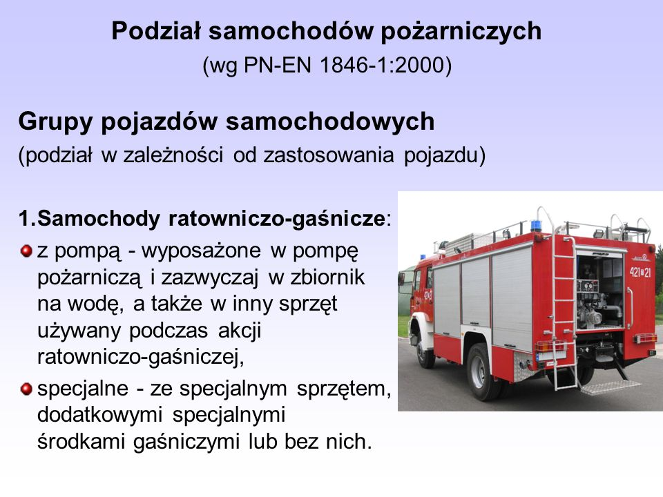 Podział samochodów pożarniczych