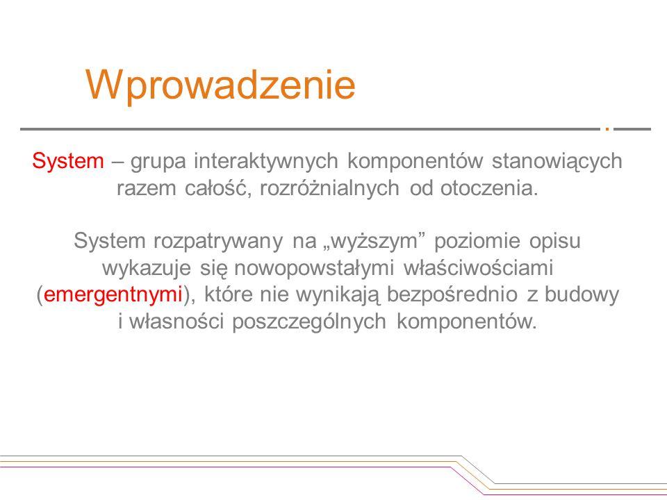 Wprowadzenie System – grupa interaktywnych komponentów stanowiących razem całość, rozróżnialnych od otoczenia.