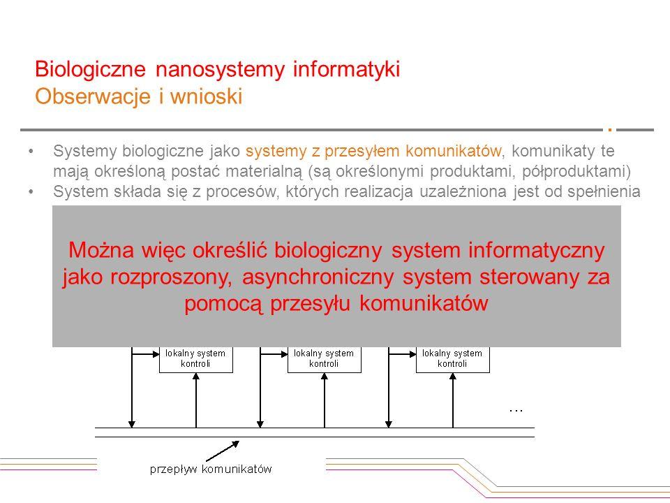 Biologiczne nanosystemy informatyki Obserwacje i wnioski