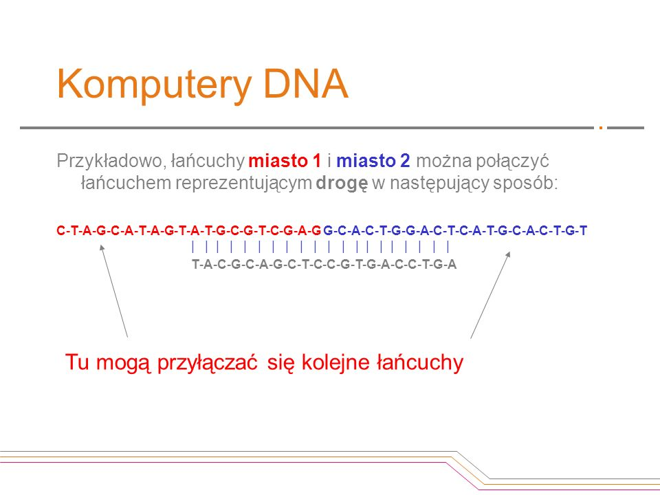 Komputery DNA Tu mogą przyłączać się kolejne łańcuchy