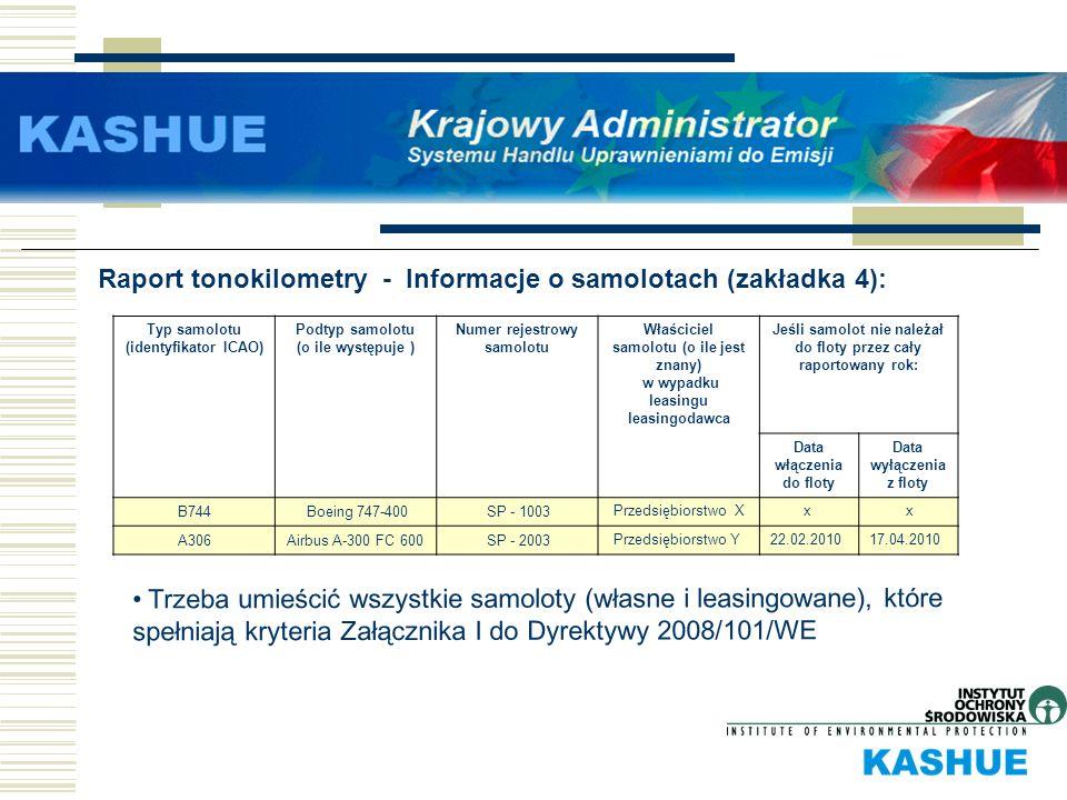 Raport tonokilometry - Informacje o samolotach (zakładka 4):