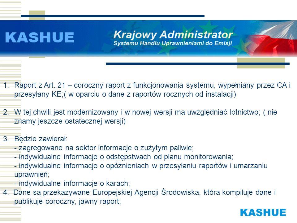 Raport z Art. 21 – coroczny raport z funkcjonowania systemu, wypełniany przez CA i przesyłany KE;( w oparciu o dane z raportów rocznych od instalacji)